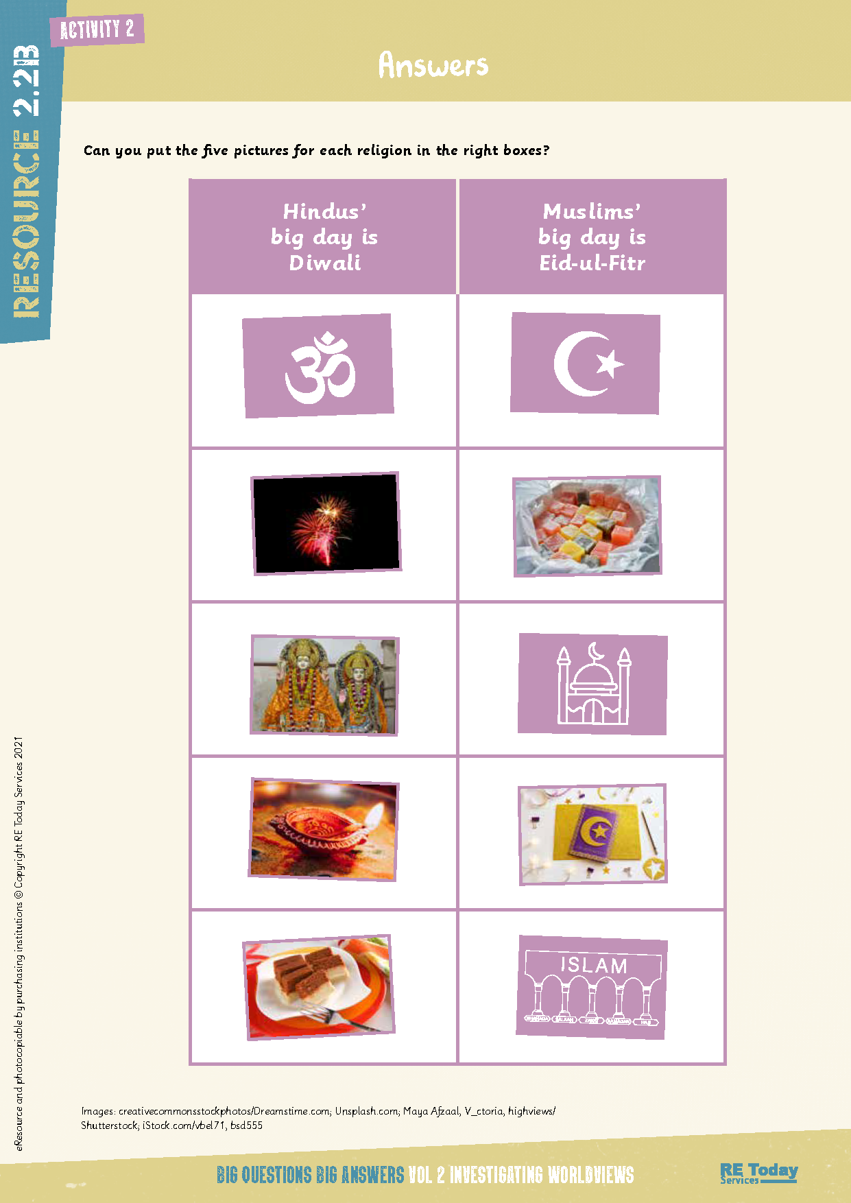 Eid and Diwali table ANSWERS