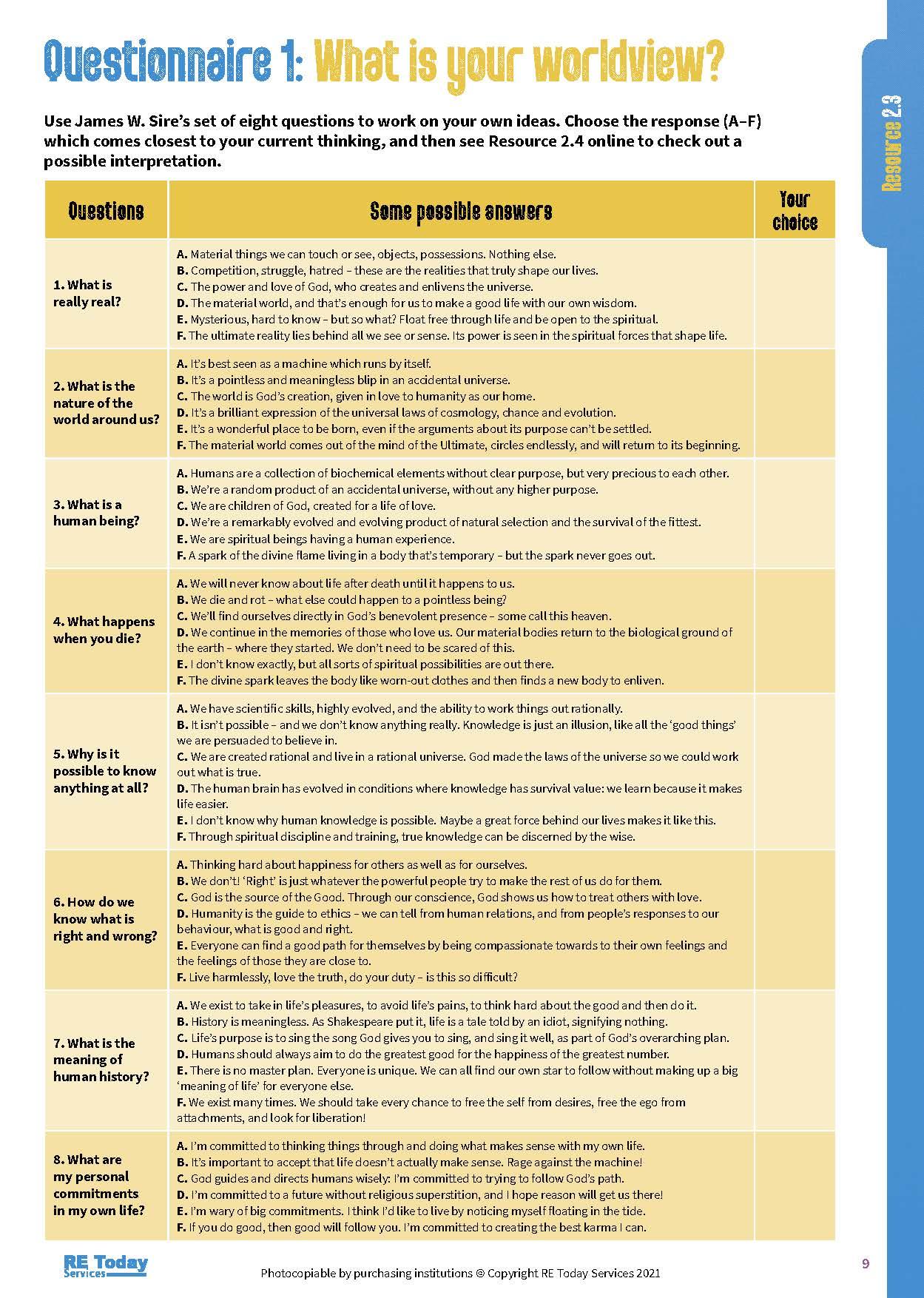 Questionnaire 1 p 9