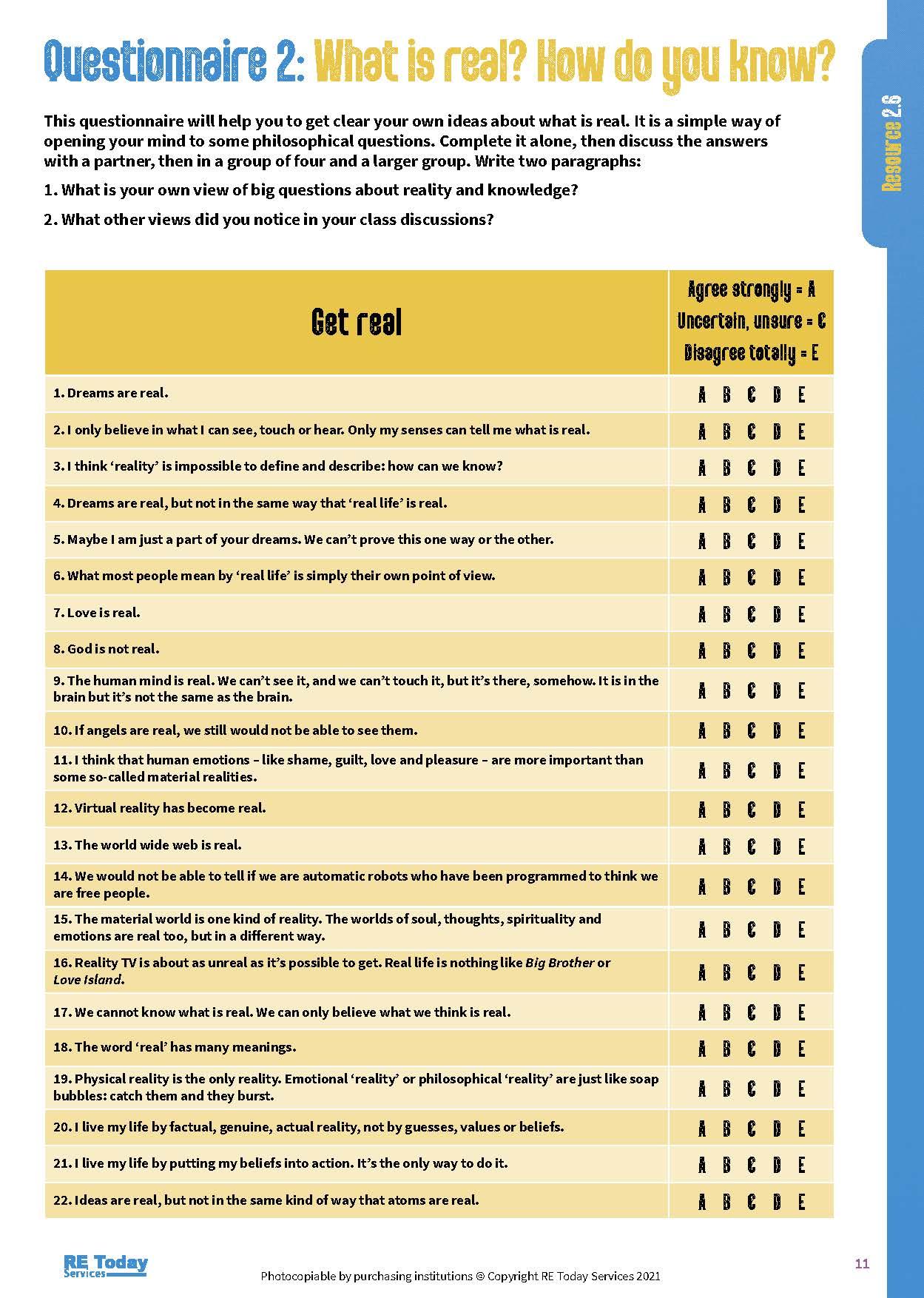 Questionnaire 2 p 11