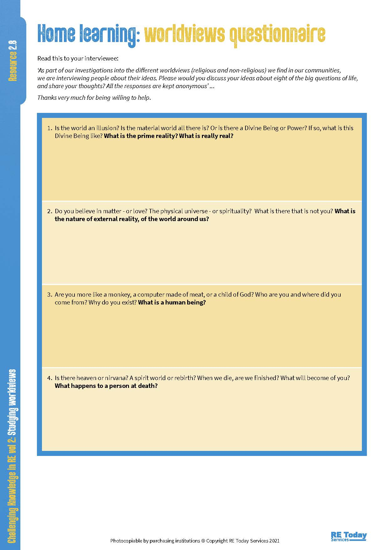 2_8 Home learning Worldviews questionnaire