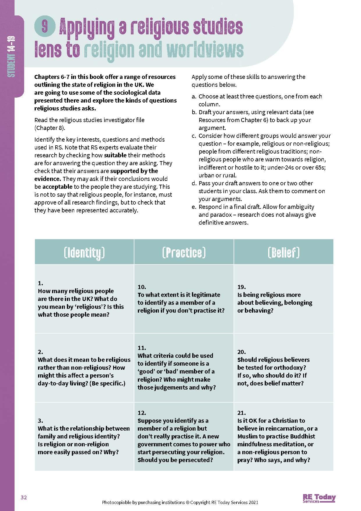 Applying a religious studies lens pp 32-33